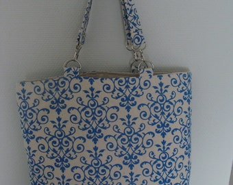 bag Tote lin double blue arabesques lin 3 internal pockets