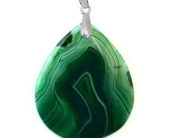 Waterdrop Green Onyx Agate Pendant