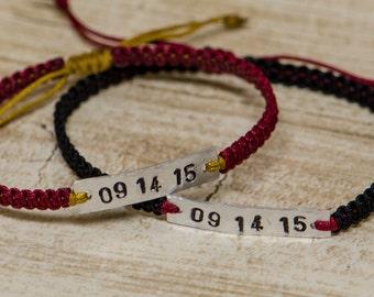Silver Anniversary Date Bracelet (Pair)