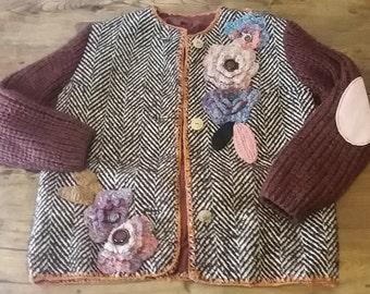 Jacket tweed crochet flowers decorations bordeaux