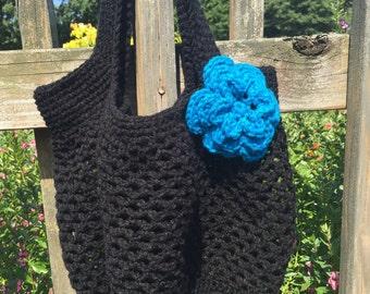 Crochet Market Everyday Bag, Beach Bag, Summer Bag, Shoulder Bag, Summer Tote Bag, Blue, Farmers Bag