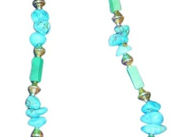 """21"""" Real Turquoise Beaded Necklace. Silver has No Mark and is 2 1/2"""" long and 2"""" wide.. Free Shipping In USA"""
