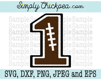 SVG, DXF, PNG, cutting file Jpeg and Eps: Football Varsity Number 1 Silhouette Cameo Cricut Cutting File or Iron On