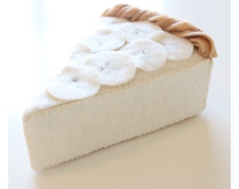 Felt Food - Felt Banana Pie - Felt Pie - Pretend Food - Play Food - Play Food Pie - Banana Cream Pie