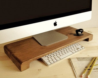 Computer desk tidy reclaimed wood shelf