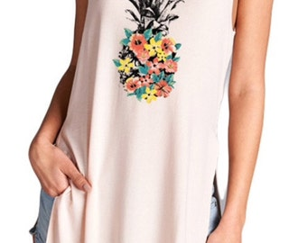 Floral Pineapple High Low Sleeveless top