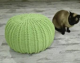 Knitted Pouf - colours, Lime, Seat, Crochet Pouf, Ottoman, Footstool, pouf