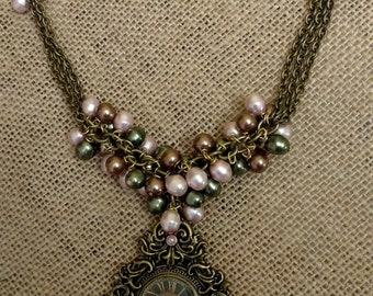 Bronze Beaded Necklace with Pendant