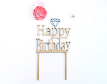 Diamond Cake Topper - Happy Birthday Cake Topper - Birthday Cake Topper