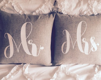 Mr. And Mrs. 18x18 Throw Pillow Cover Set! Set of two pillow covers! Wedding gifts. Home decor.