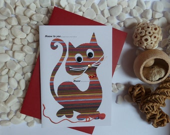 Ginger Cat Greetings Card, Tabby Cat Card, Cat illustration, Card for cat lovers, A6, gems