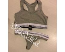 Ck calvin klein fashion GREY underwear set lingerie bra and thong pants stretch jersey. Size S M L 6 8 10 12