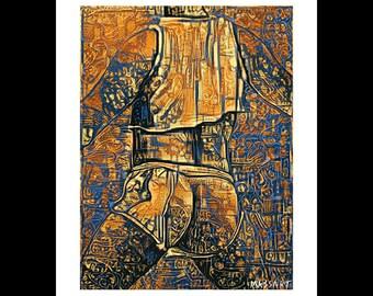 Art print digital gay Creation - art - male nude Male - N74 - 24 x 32 cm on A3