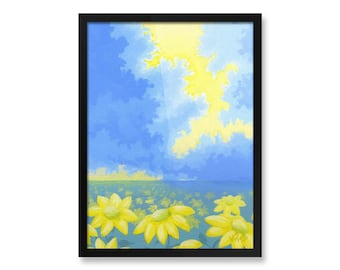 "Yellow & Blue, Flower Landscape Painting, Fine Art, Framed Print, 8x10"", 12x16"""