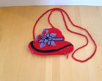 Red Hat Society Beaded Satin Purse with Bonus Pin
