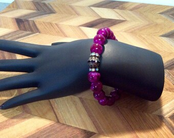 Purple Glass Beaded Stretch Bracelet