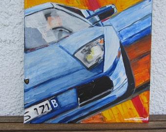 Acrylic painting, Lambo, Lamborghini Murcielago, original, painting by the artist.