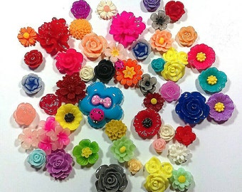 assorted flower cabochons - mixed flower cabochons - 50 pieces