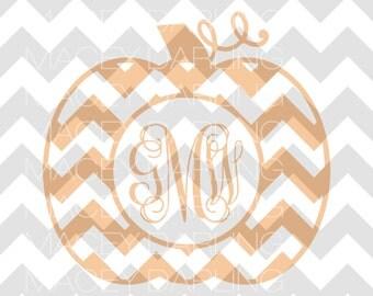 Chevron Pumpkin Monogram, Chevron Pumpkin SVG, Pumpkin Monogram, Pumpkin Monogram SVG, Chevron Monogram, Fall Monogram, Pumpkin Cut File