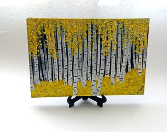 Original painting, Miniature painting, Acrylic painting, Forest, Yellow forest, Birch forest, Home decor,  Small painting, Gift, Abstract