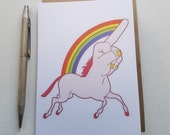 HATE MAIL - Unicorn Middle Finger ...Unifinger - Anti-Greeting Card - Cards for Her - Cards for Him - Just Because Cards