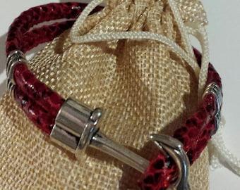 Men's Red Faux Leather Snake Skin Anchor Bracelet