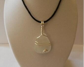 Clear sea glass pendant