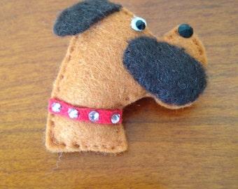 Felt Boxer Dog Brooch.