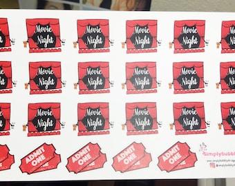Planner Stickers - Movie Night Stickers