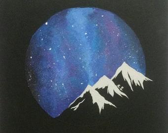 "Night Sky Roundscape on canvas (12""x12""x1"")"