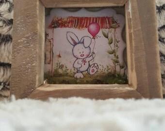 Funky Frame Design - Small Frame - Bunny & Balloon (OOAK)