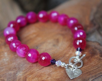 Fuchsia Agate and Sterling Silver heart charm bracelet