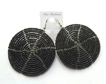 Black beaded spiral earrings
