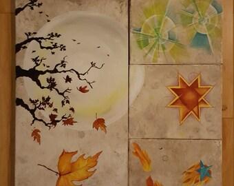 "4 Piece Acrylic Painting 16""x18"""