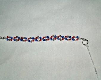 Patriotic colors:  Swarovski crystal and pearl bracelet