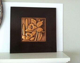 Bruce Fox/mid century modern Hollywood regency metal art/daffodils/copper/wood/floral/DevonHillCo