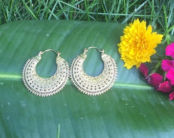 Brass Hindi Hoops-Tribal Earrings, Bohemian Jewellery, Ethnic Earrings, Tribal Jewellery, Hoop Earrings, Brass Earrings