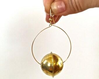 Gold & Brass-Beaded Hoops