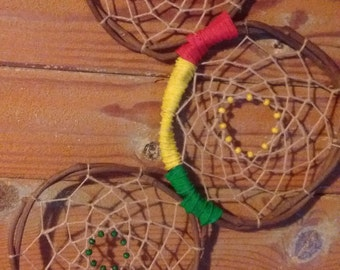 Three hoop rasta colors dream catcher