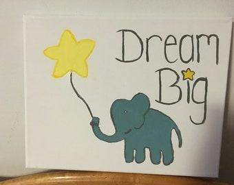 Dream Big Baby Elephant Nursery Art