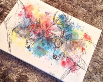 A3 deer fight canvas print
