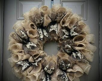 Fleur de Lis Burlap Wreath