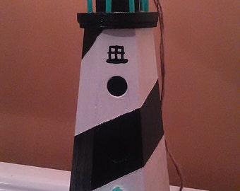 Custom black and white lighthouse birdhouse
