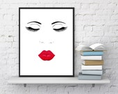 Face print, Lips and Lashes Makeup,  Digital Printable, Minimalist, Wall Decor,  Eyelashes, Fashion print, Lips print, InstantDownloadArt1