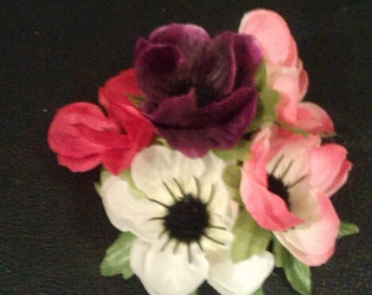 Pretty in pink and purple anemone rockabilly vintage style  hair flower