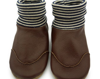 Baby shoes, leather sock chestnut brown LS5