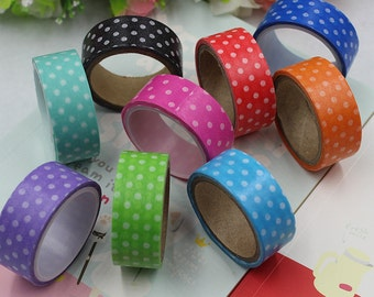 10 Pcs Polka Dots Masking Tape Washi Packing Adhesive Tape Stationery Decorative Paper Tape Multicolor Random Color