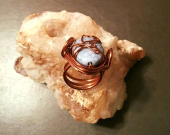 Turquoise Bead Wrapped in Copper - Ring Sz 6
