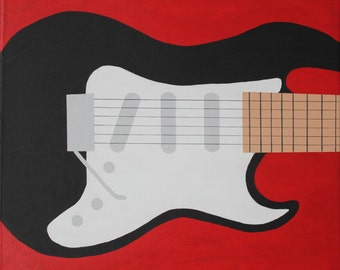 Red Guitar, 12x12 canvas, acrylic painting, original painting