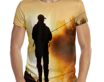 Fishing T Shirt.  Men's T Shirt. 3D T-Shirt. Screen Printed Shirt. Gift for fisherman.